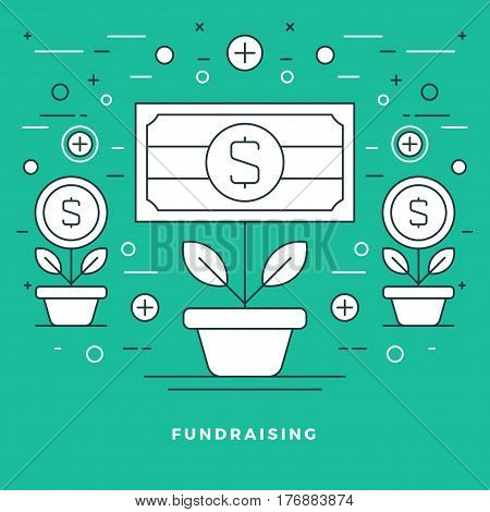 Flat line Fundraising and Financial Growth Concept Vector illustration. Modern thin linear stroke vector icons. For Website Graphics, Infographics Design, Promotional Materials.