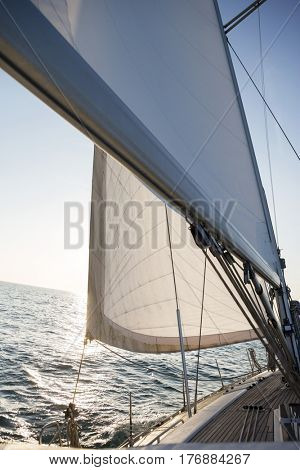 Sail And Mast Of Yacht In Sea