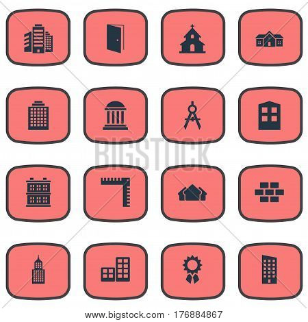 Vector Illustration Set Of Simple Structure Icons. Elements Academy, Popish, Structure And Other Synonyms Three, Door And Building.