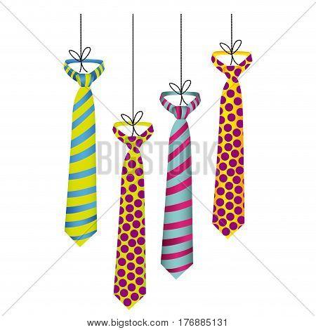 elegant ties hanging icon, vector illustration design