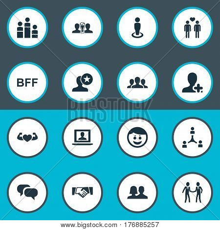Vector Illustration Set Of Simple Buddies Icons. Elements Bodybuilding, Homosexual, Beer And Other Synonyms Network, Friend And Profile.