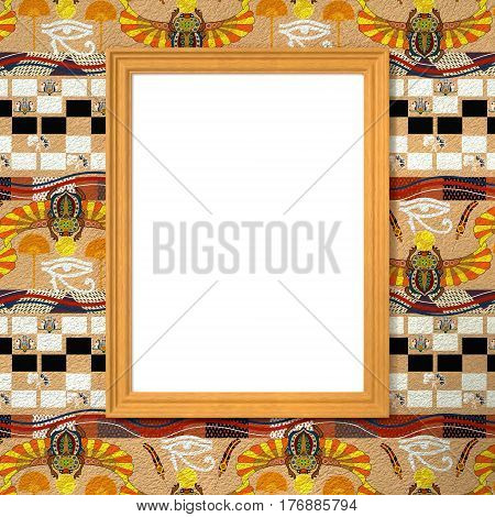 Frame with a white canvas on the bright ethnic background with Egyptian symbols. Tribal background. 3d rendering.