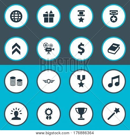 Vector Illustration Set Of Simple Champ Icons. Elements Miracle, Literature, Currency And Other Synonyms Dollar, Earth And Textbook.