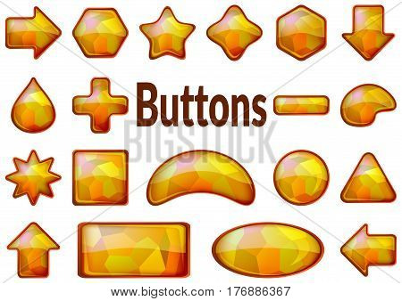 Set of Glass Golden Buttons with Polygon Texture, Computer Icons of Different Forms for Web Design on White Background. Eps10, Contains Transparencies. Vector