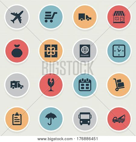 Vector Illustration Set Of Simple Carting Icons. Elements Day, Clipboard, Airline And Other Synonyms Trolley, Luggage And Clock.