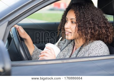 Afro Black Woman Drinking And Driving