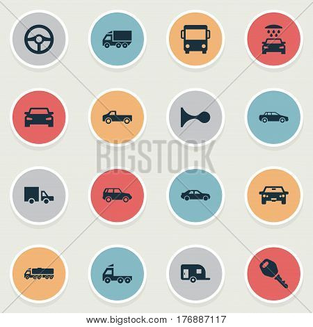 Vector Illustration Set Of Simple Auto Icons. Elements Tour Bus, Steering Wheel, Traffic And Other Synonyms Cargo, Steering And Key.