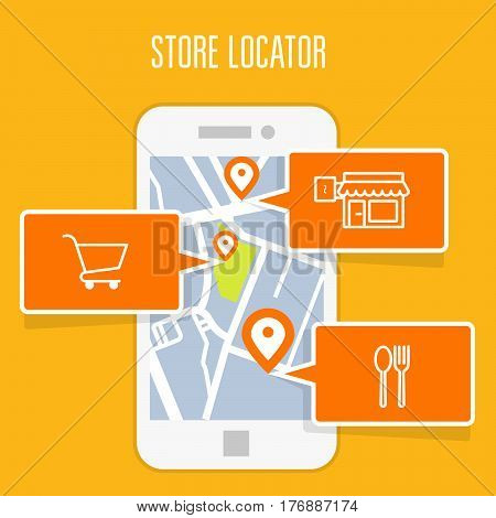 Store location tracker app and mobile gps navigation