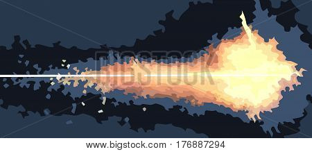 drawn fire from the flamethrower on the dark background