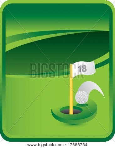 golf hole in one on green background