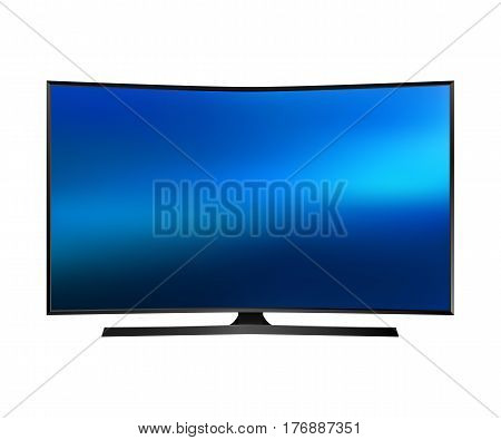 UHD Smart Tv with curved screen isolated on white background. Vector illustration.