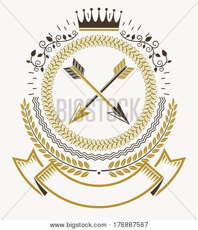 Vintage heraldry design template vector emblem with crown and spears