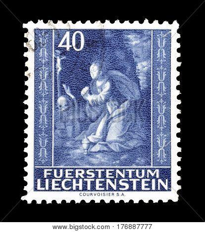 LIECHTENSTEIN - CIRCA 1964 : Cancelled postage stamp printed by Liechtenstein, that shows Saint Magdalena.