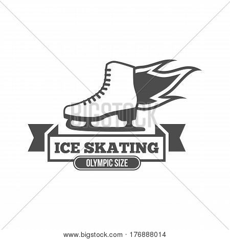 Ice Skate label logotype design. Ice skating boot, speed scating, figure skating. Vintage winter sportsd logo design. Monochrome badge.