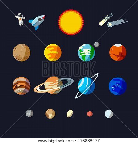 Solar system objects, flat style set. Planets and small planets such as Ceres, Pluto, Haumea, Makemake, Eris.
