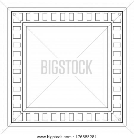 Vector geometric frame with place for text. Abstract geometrical background. Simple geometric geo pattern of thin straight lines. Linear precise pattern of squares and rectangles on white background
