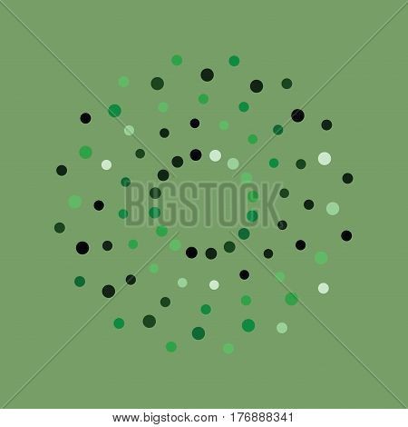 Green abstract background with circles of different color randomly distributed dots confetti. Vector illustranbon. Abstract whirligig pattern. Dotted print. Circle distress texture.