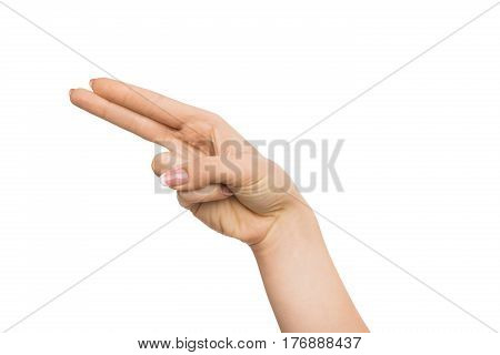 Hand gestures. Female hand pointing, touching or pressing, isolated on white background, human palm showing direction, cutout, close-up