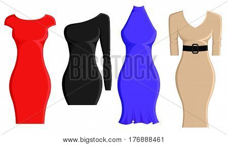 Set of sheath dresses in different styles and color