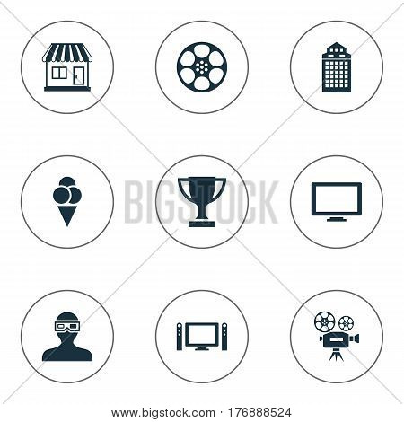 Vector Illustration Set Of Simple Film Icons. Elements Structure, Grocery, Filmstrip And Other Synonyms 3D, Structure And Movie.