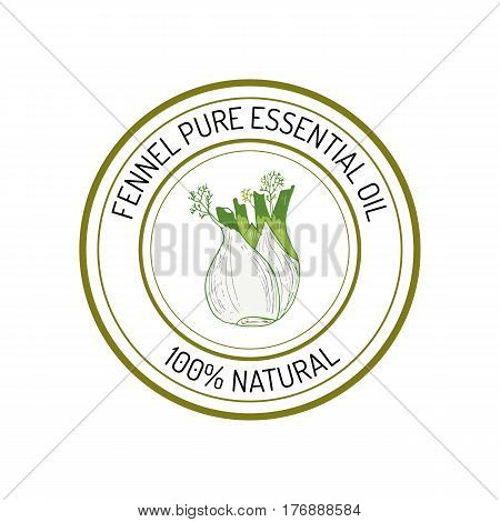 Fennel, essential oil label, aromatic plant Vector illustration