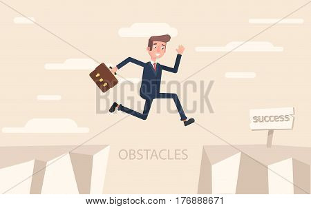 A businessman jumps over problems in order to succeed. Vector illustration in a flat style.
