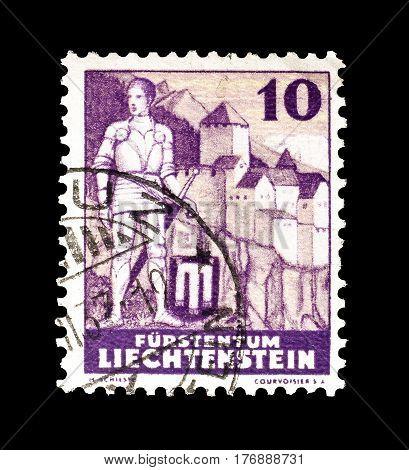 LIECHTENSTEIN - CIRCA 1937 : Cancelled postage stamp printed by Liechtenstein, that shows Knight and castle.