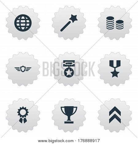 Vector Illustration Set Of Simple Champ Icons. Elements Trophy, Growth Diagram, Guard And Other Synonyms Miracle, Globe And Magic.