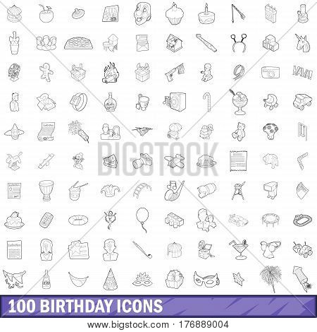 100 birthday icons set in outline style for any design vector illustration