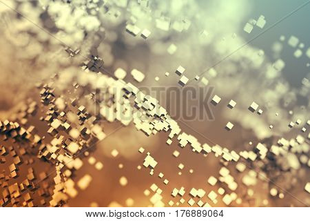 Abstract 3d rendering of chaotic particles. Flying cubes in empty space. Dynamic shape. Futuristic background with bokeh, depth of field effect. Design for poster, banner, placard.