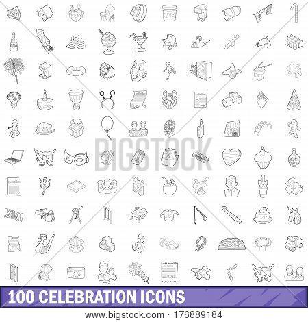 100 celebrationl icons set in outline style for any design vector illustration