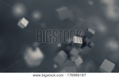 Abstract 3d rendering of chaotic cubes. Flying shapes in empty space. Dynamic background with bokeh, depth of field effect. Design for poster, banner, placard.