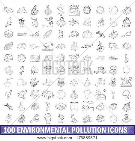 100 environmental pollution icons set in outline style for any design vector illustration