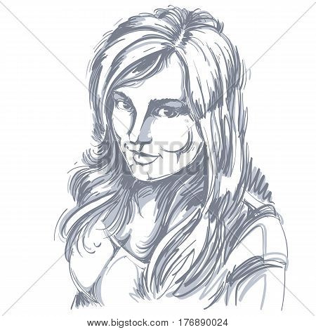 Vector drawing of smiling sexy flirting woman with stylish haircut. Black and white portrait of attractive happy lady.