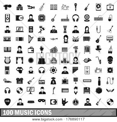 100 music icons set in simple style for any design vector illustration