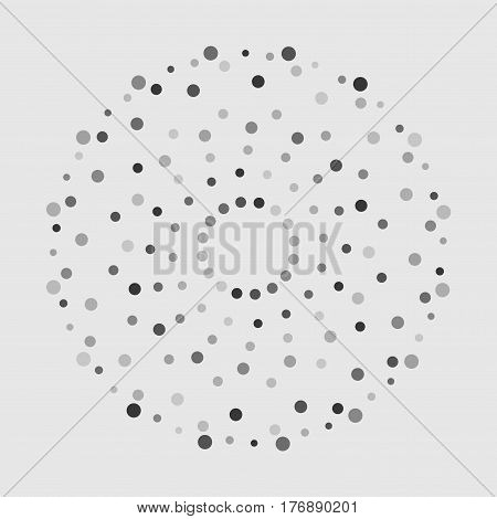 Grey abstract background with circles of different color randomly distributed dots confetti. Vector illustranbon. Abstract whirligig pattern. Dotted print. Circle distress texture.