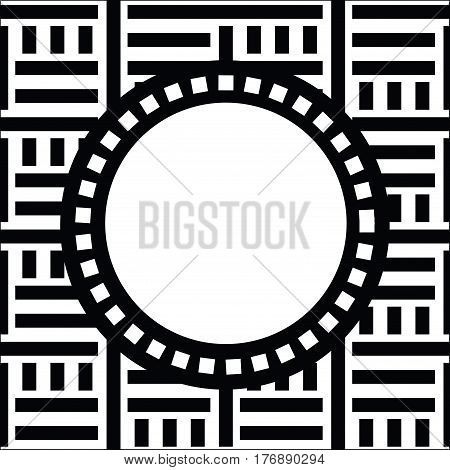 Vector round frame with place for text. Abstract strong geometrical background. Simple precise geo pattern of straight lines on white background. Black and white digital graphic. Striped texture
