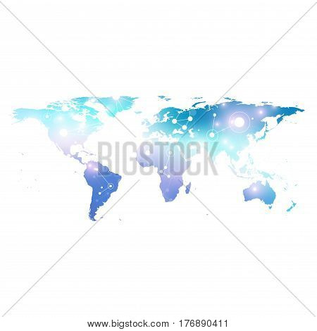 World Map with global technology networking concept. Digital data visualization. Scientific cybernetic particle compounds. Big Data background communication. Vector illustration