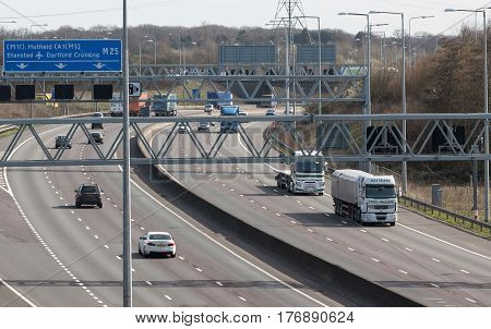 Watford UK - March 13 2017: Traffic on the British motorway M25