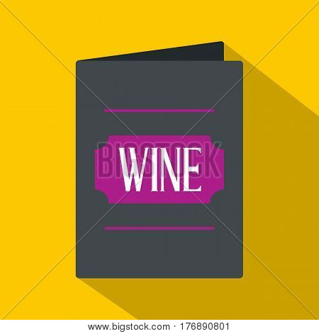 Black wine card icon. Flat illustration of black wine card vector icon for web isolated on yellow background