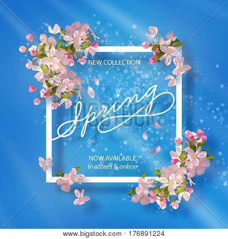Vector background with spring cherry blossom. Spring collection banner with Apple blossoming branch and text