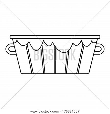 Old wooden bucket icon. Outline illustration of old wooden bucket vector icon for web