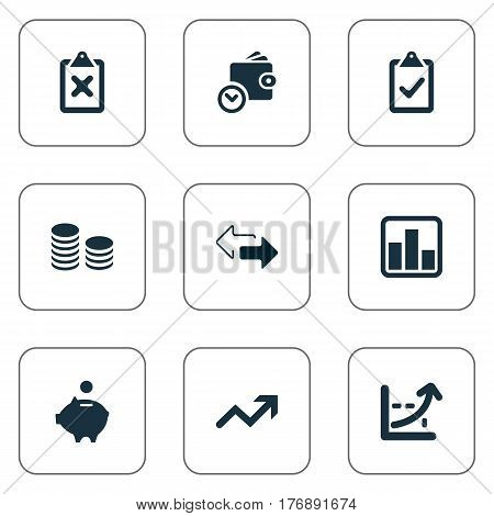 Vector Illustration Set Of Simple Banking Icons. Elements Two Directions, Progress, Rate And Other Synonyms Growth, List And Supervision.