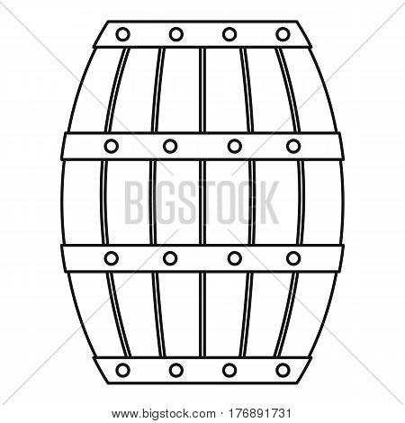 Old wooden barrel icon. Outline illustration of old wooden barrel vector icon for web