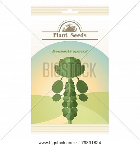 Vector image of the Brussels Sprout seed pack