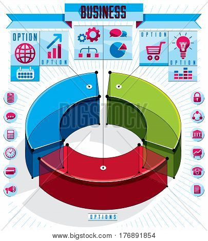 Creative Infographics Template, Three Sectored 3D Circle Idea, Vector Layout Illustration.