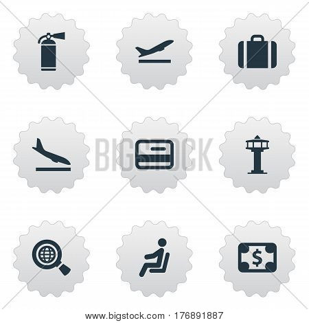 Vector Illustration Set Of Simple Travel Icons. Elements Credit Card, Alighting Plane, Flight Control Tower And Other Synonyms Suitcase, Seat And Fly.