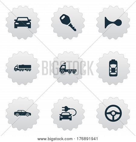 Vector Illustration Set Of Simple Auto Icons. Elements Automobile, Car Charging, Klaxon And Other Synonyms Car, Trucks And Siren.