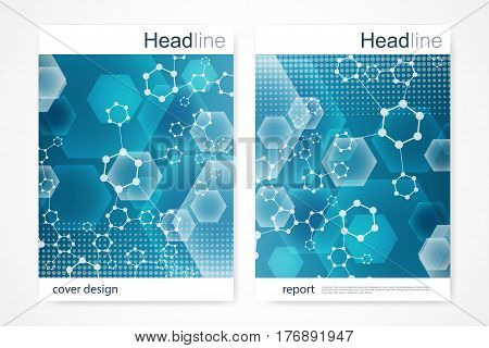 Scientific brochure design template. Vector flyer layout, Molecular structure with connected lines and dots. Scientific pattern atom DNA with elements for magazine, leaflet, cover, poster design