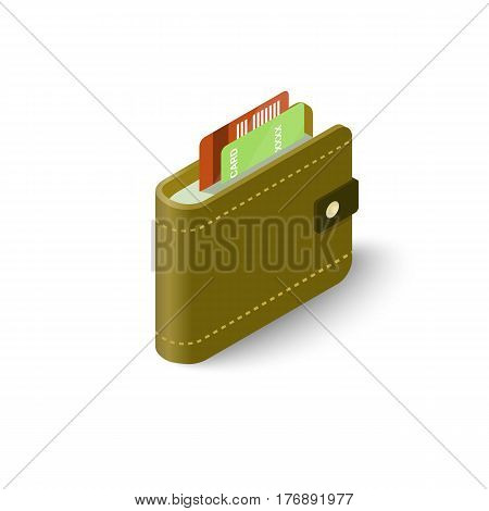 Leather wallet with credit cards icon. Isometric 3d illustration of leather wallet with credit cards vector icon for web